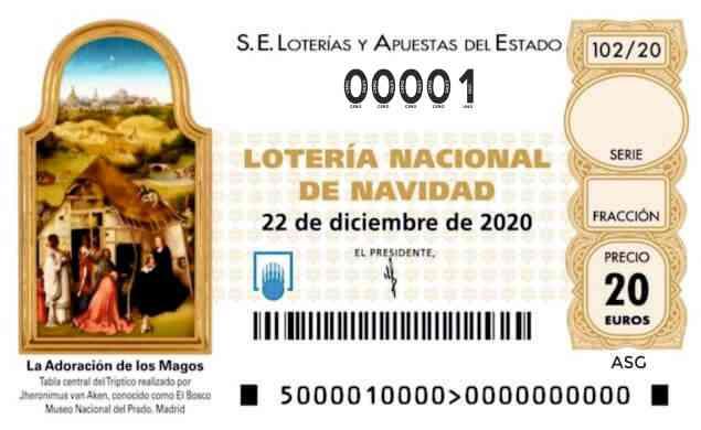 Décimo 00001 del sorteo 102-22/12/2020 Navidad