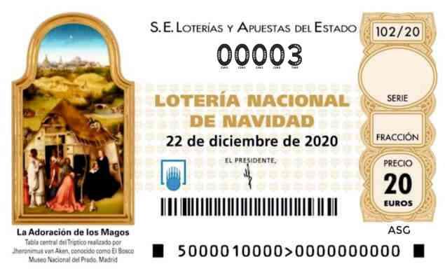 Décimo 00003 del sorteo 102-22/12/2020 Navidad